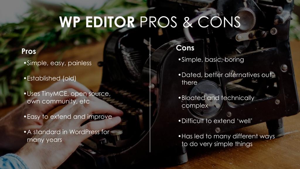 WP EDITOR PROS & CONS Cons • Simple, basic, bor...