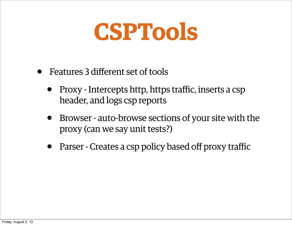 CSPTools • Features 3 different set of tools • P...