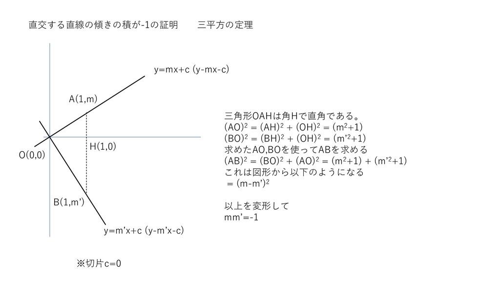 直交する直線の傾きの積が-1の証明 三平方の定理 y=m'x+c (y-m'x-c) y=mx...
