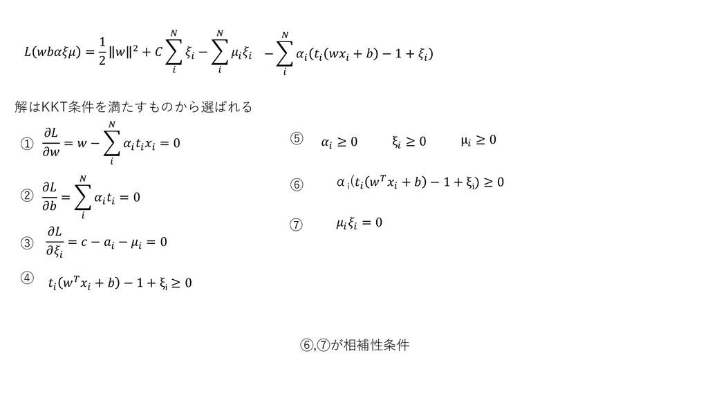 解はKKT条件を満たすものから選ばれる   = 1 2  2 +      −      ...