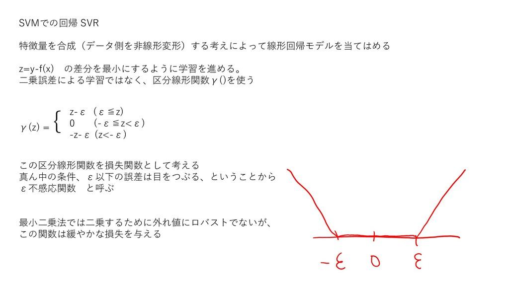 SVMでの回帰 SVR 特徴量を合成(データ側を非線形変形)する考えによって線形回帰モデルを当...