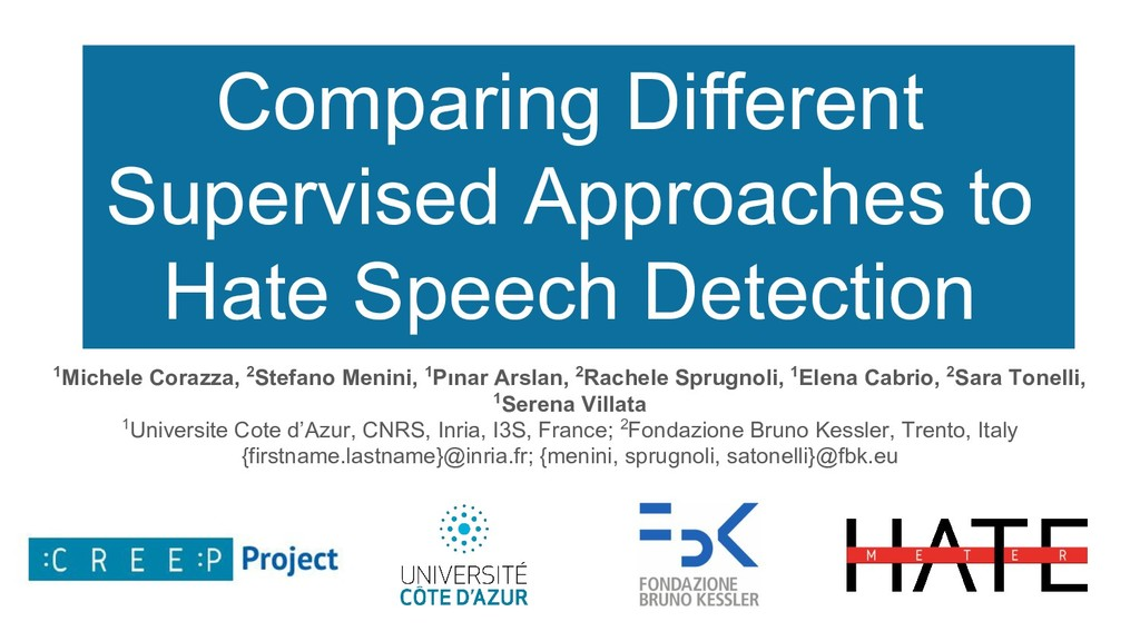 Comparing Different Supervised Approaches to Ha...