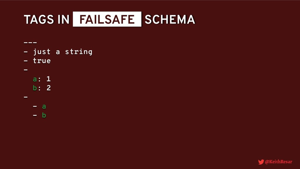 @KeithResar TAGS IN _FAILSAFE_ SCHEMA --- - jus...