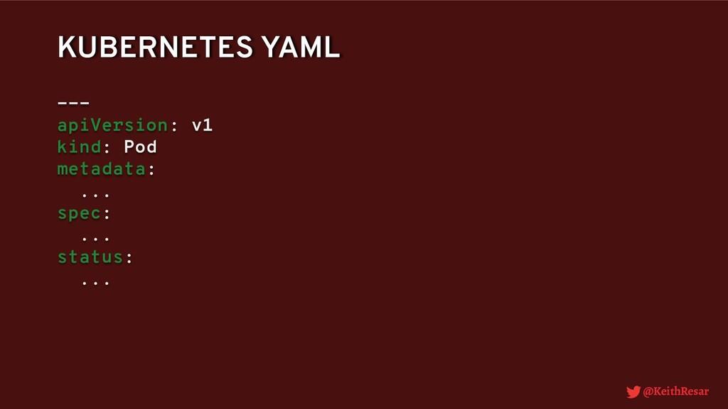 @KeithResar KUBERNETES YAML --- apiVersion: v1 ...