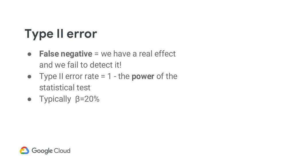 Type II error ● False negative = we have a real...