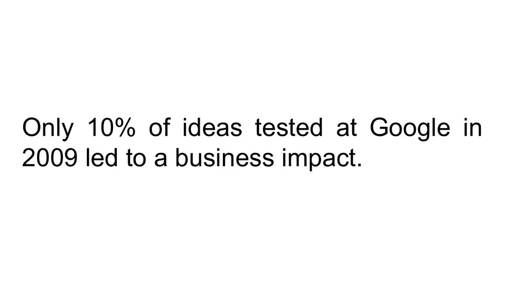 Only 10% of ideas tested at Google in 2009 led ...