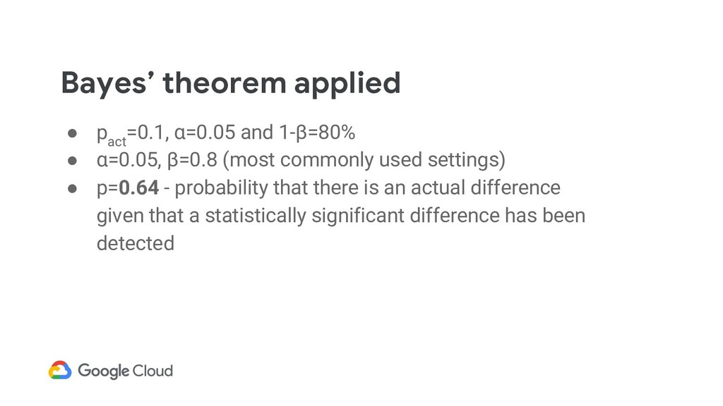Bayes' theorem applied ● p act =0.1, α=0.05 and...