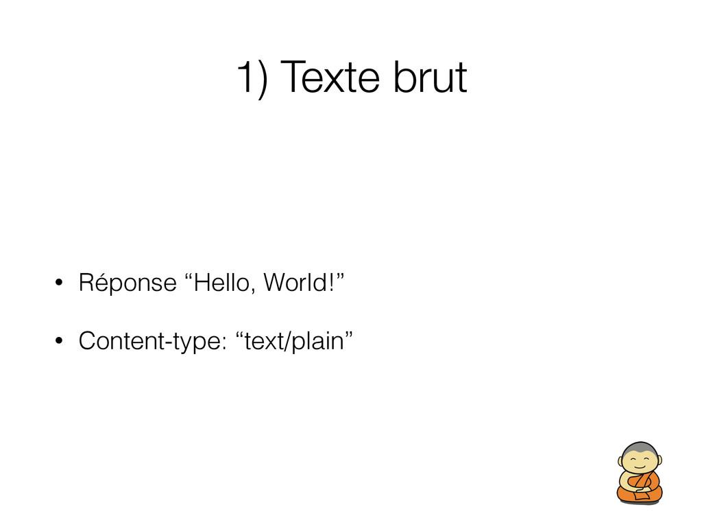 """1) Texte brut • Réponse """"Hello, World!"""" • Conte..."""