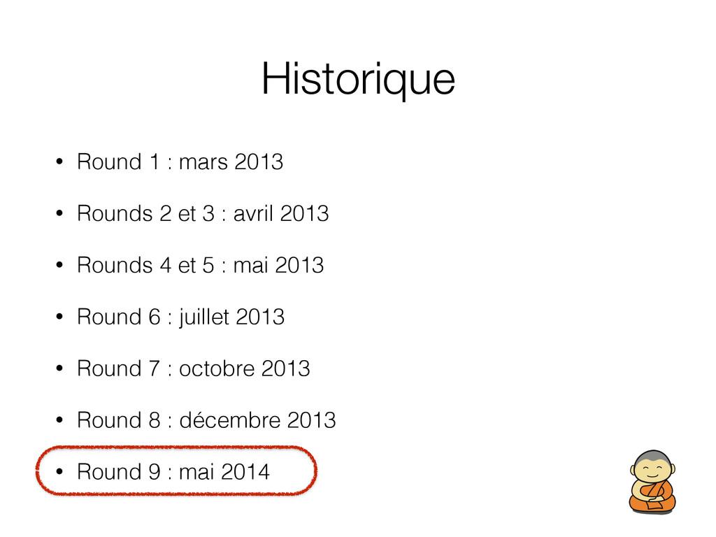 Historique • Round 1 : mars 2013 • Rounds 2 et ...