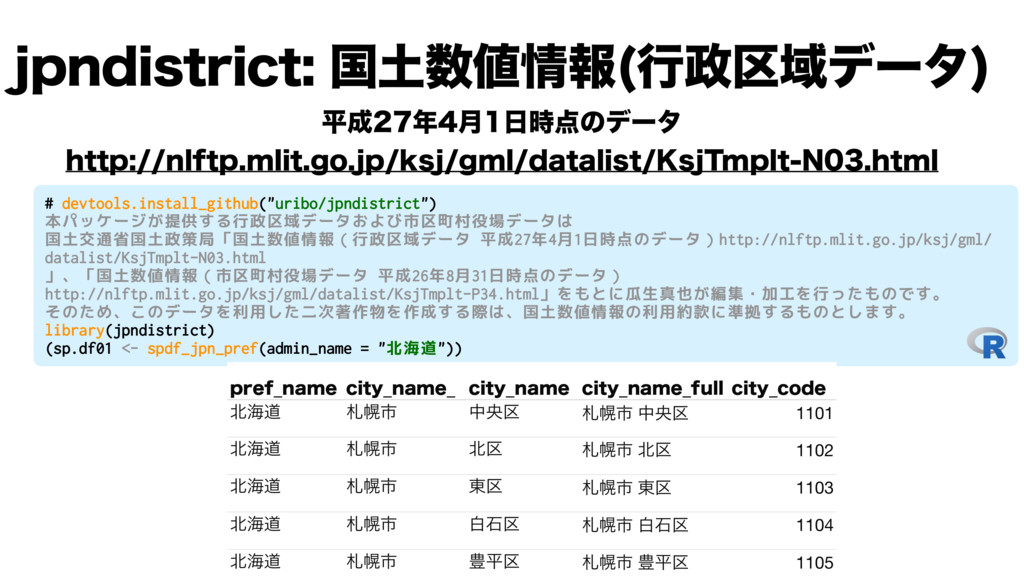 "# devtools.install_github(""uribo/jpndistrict"") ..."