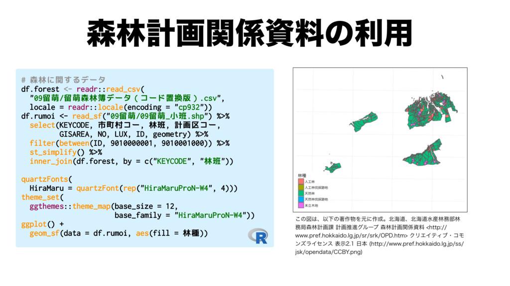 ྛܭըؔྉͷར༻ # 森林に関するデータ df.forest <- readr::rea...