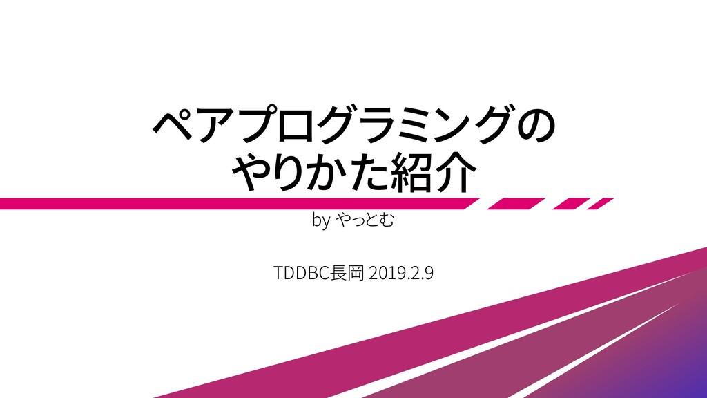 ペアプログラミングの やりかた紹介 by やっとむ TDDBC長岡 2019.2.9