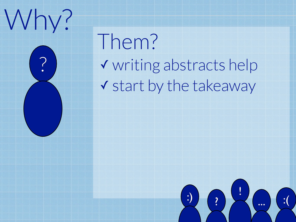 Them? ✓ writing abstracts help ✓ start by the t...
