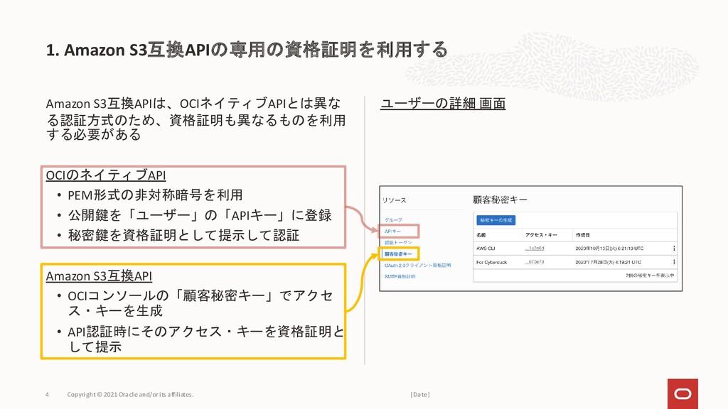 Amazon S3互換APIは、OCIネイティブAPIとは異な る認証方式のため、資格証明も異...