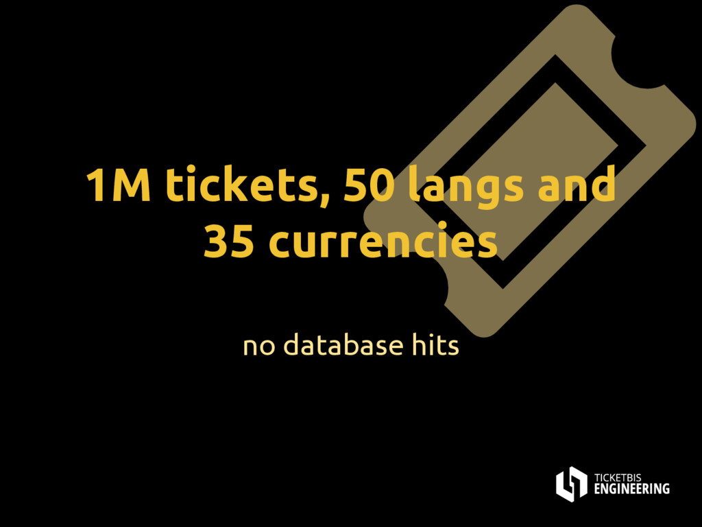 1M tickets, 50 langs and 35 currencies no datab...