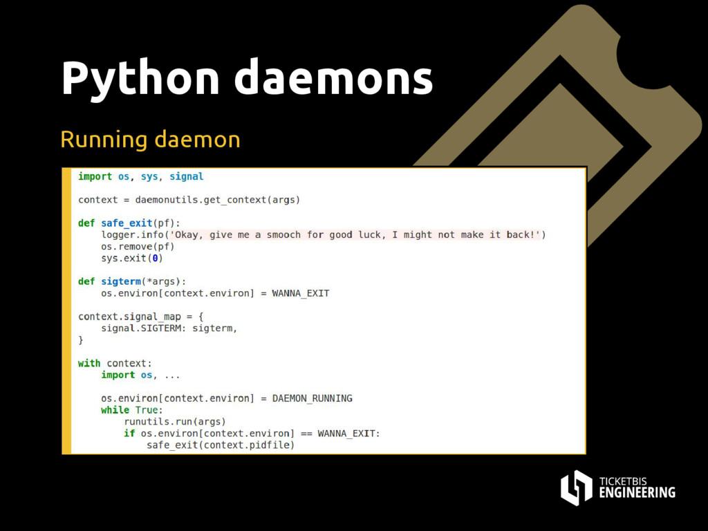 Python daemons Running daemon