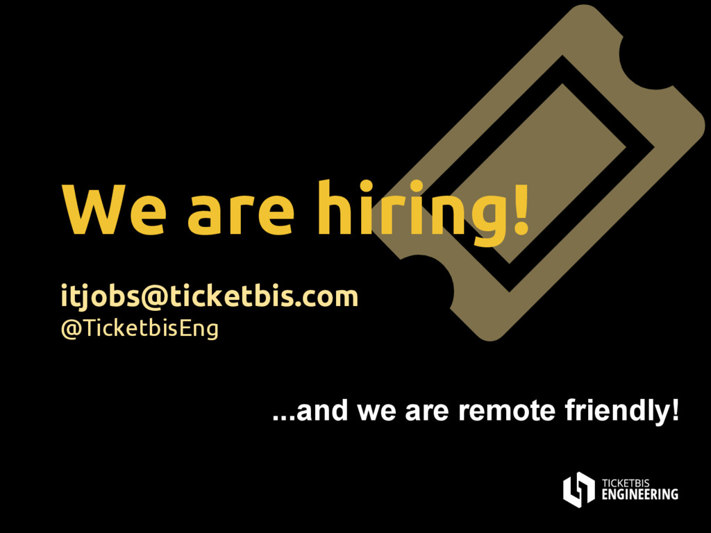 We are hiring! itjobs@ticketbis.com @TicketbisE...
