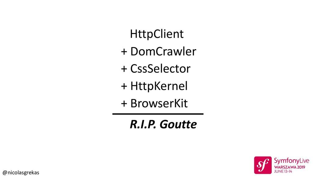 @nicolasgrekas R.I.P. Goutte HttpClient + DomCr...