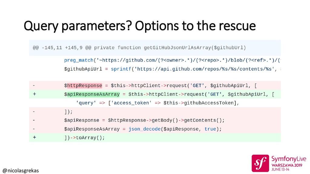 @nicolasgrekas Query parameters? Options to the...