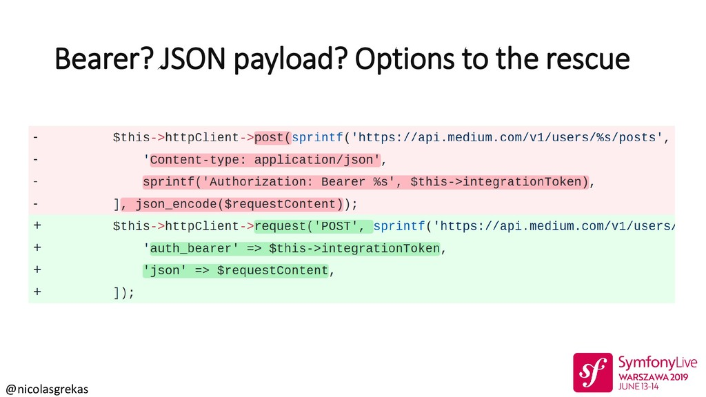 @nicolasgrekas Bearer? JSON payload? Options to...