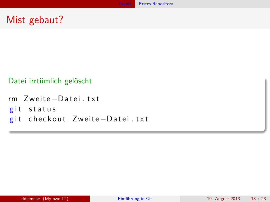 Praxis Erstes Repository Mist gebaut? Datei irr...