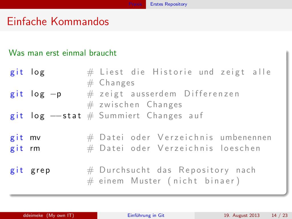 Praxis Erstes Repository Einfache Kommandos Was...