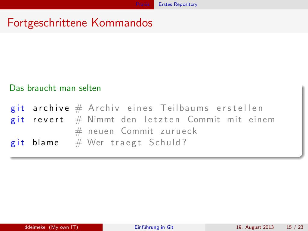 Praxis Erstes Repository Fortgeschrittene Komma...