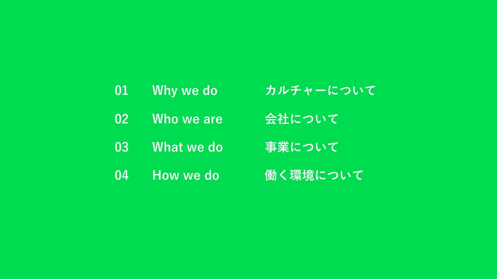 01 Why we do カルチャーについて 02 Who we are 会社について 03 ...