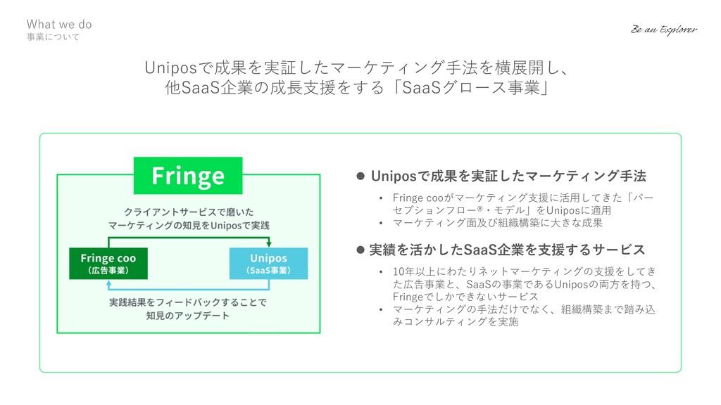 l Uniposで成果を実証したマーケティング⼿法 • Fringe cooがマーケティング⽀...