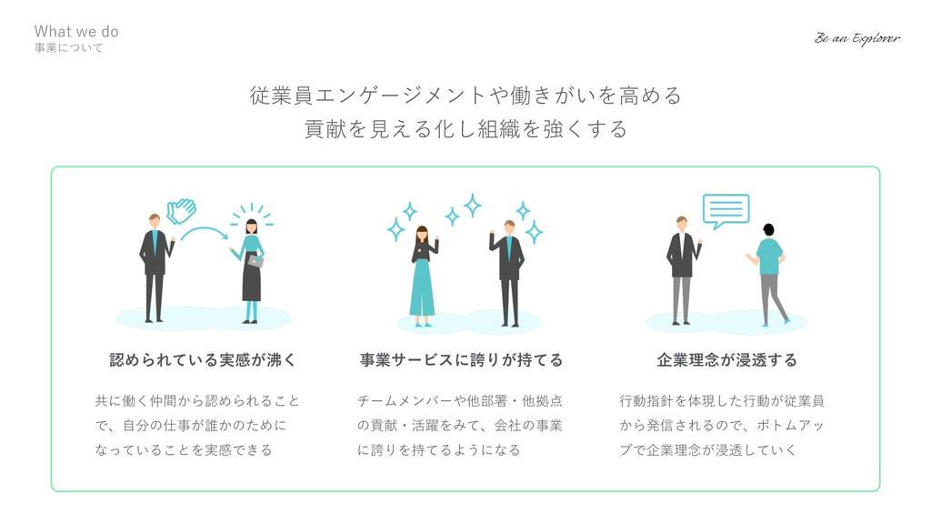 ⾏動指針を体現した⾏動が従業員 から発信されるので、ボトムアッ プで企業理念が浸透していく 企...