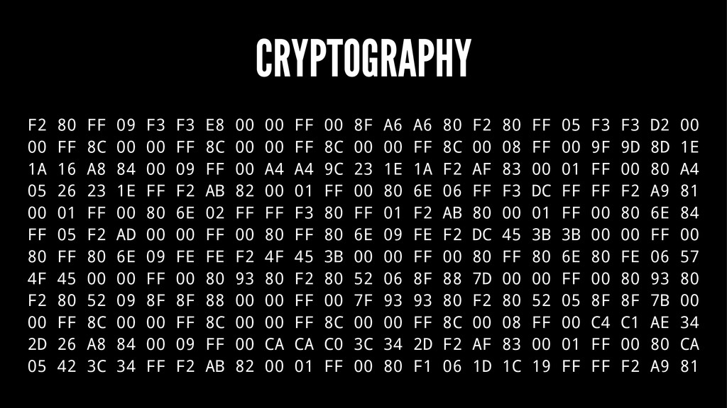 CRYPTOGRAPHY F2 80 FF 09 F3 F3 E8 00 00 FF 00 8...