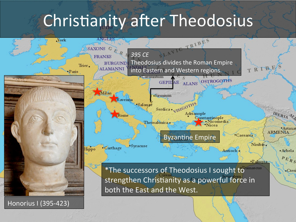 Chris4anity amer Theodosius  395 CE...