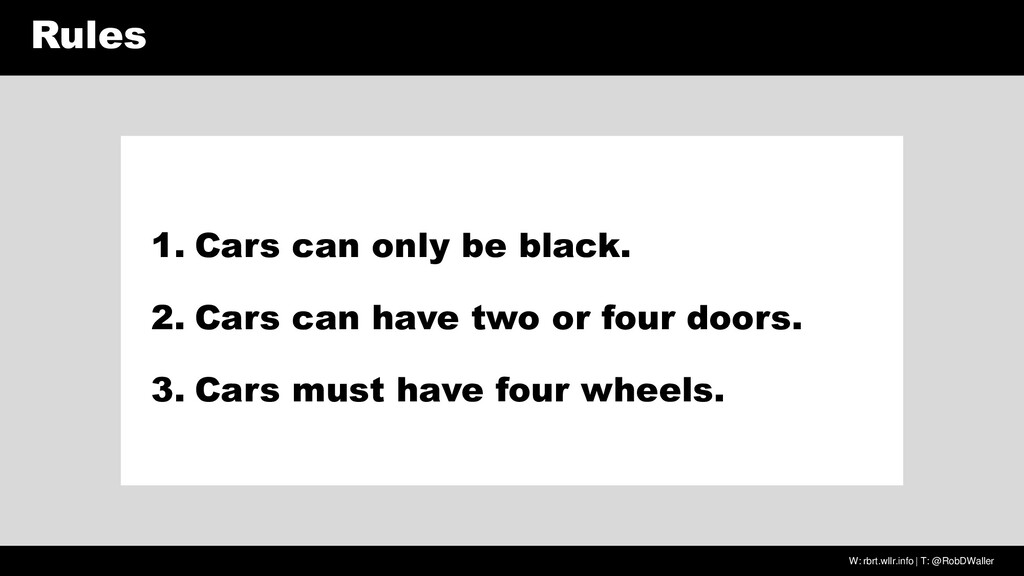 W: rbrt.wllr.info | T: @RobDWaller Rules 1. Car...