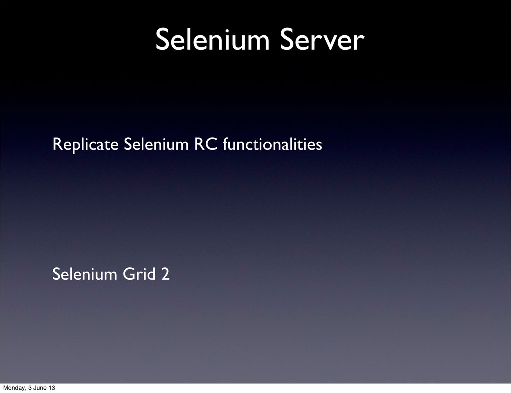 Replicate Selenium RC functionalities Selenium ...