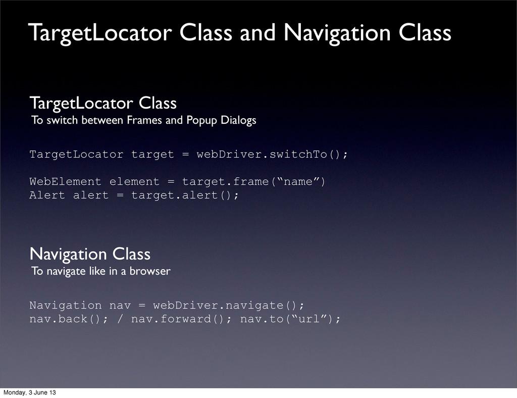 TargetLocator Class To switch between Frames an...