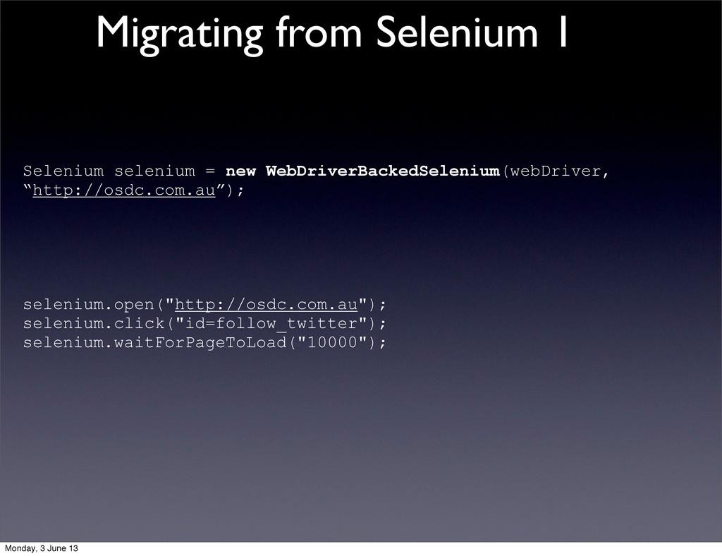 Selenium selenium = new WebDriverBackedSelenium...