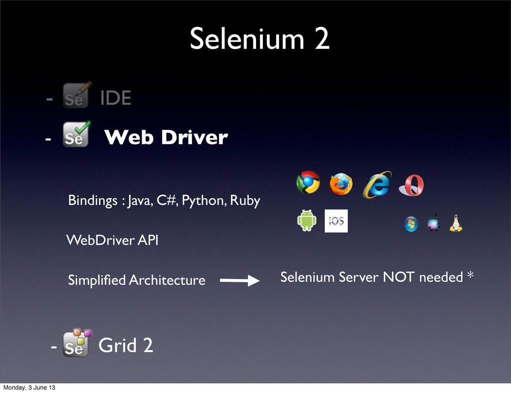 - IDE Selenium 2 - Grid 2 - Web Driver   Bind...