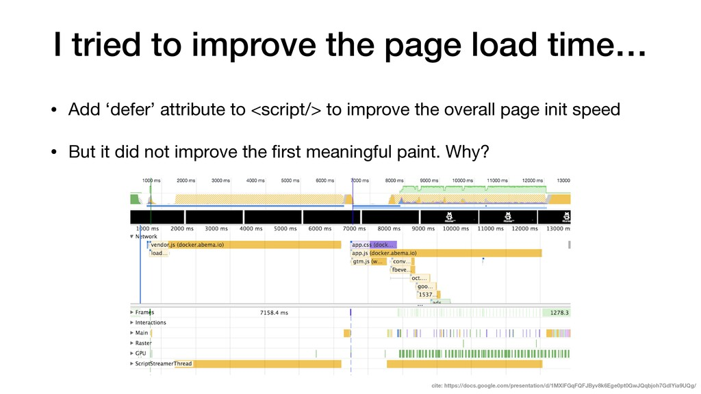 I tried to improve the page load time… • Add 'd...