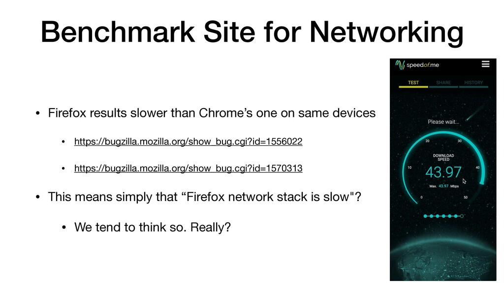 Benchmark Site for Networking • Firefox results...