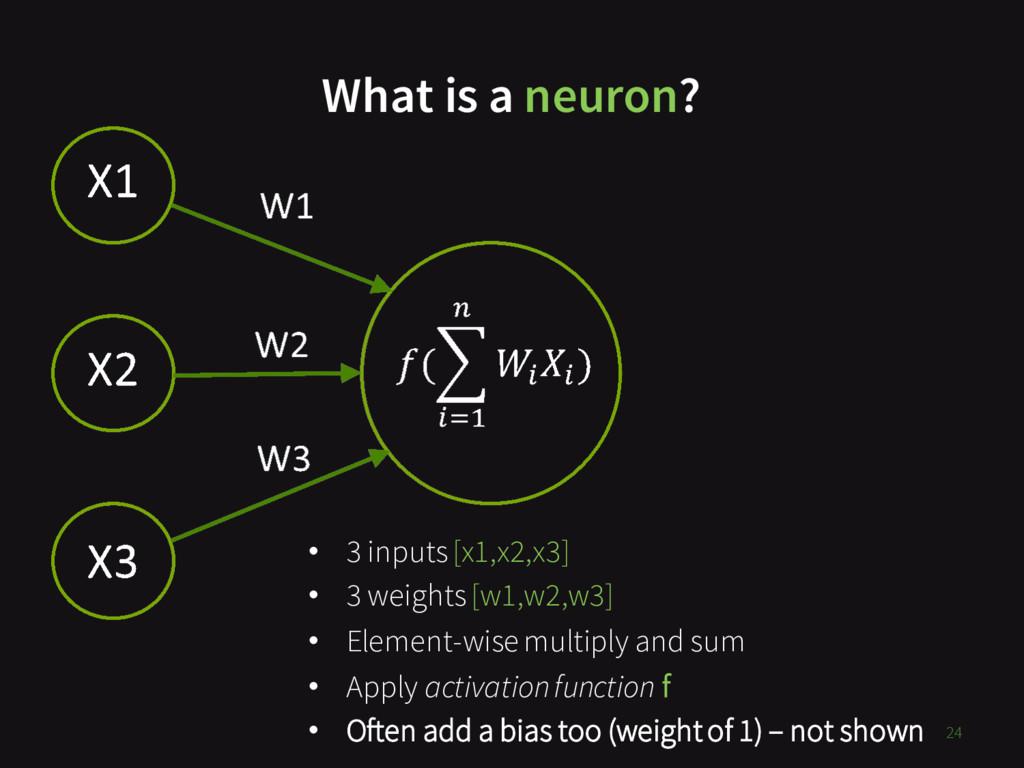 What is a neuron? 24 • 3 inputs [x1,x2,x3] • 3 ...