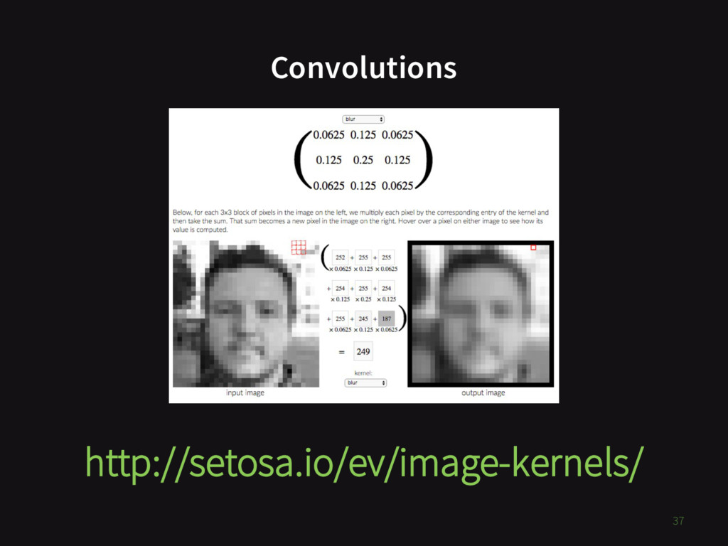 Convolutions 37 http://setosa.io/ev/image-kerne...