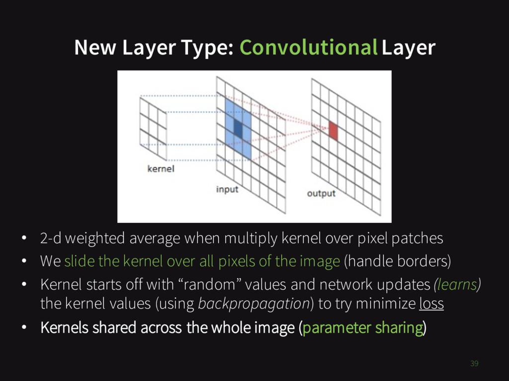 New Layer Type: ConvolutionalLayer 39 • 2-d wei...