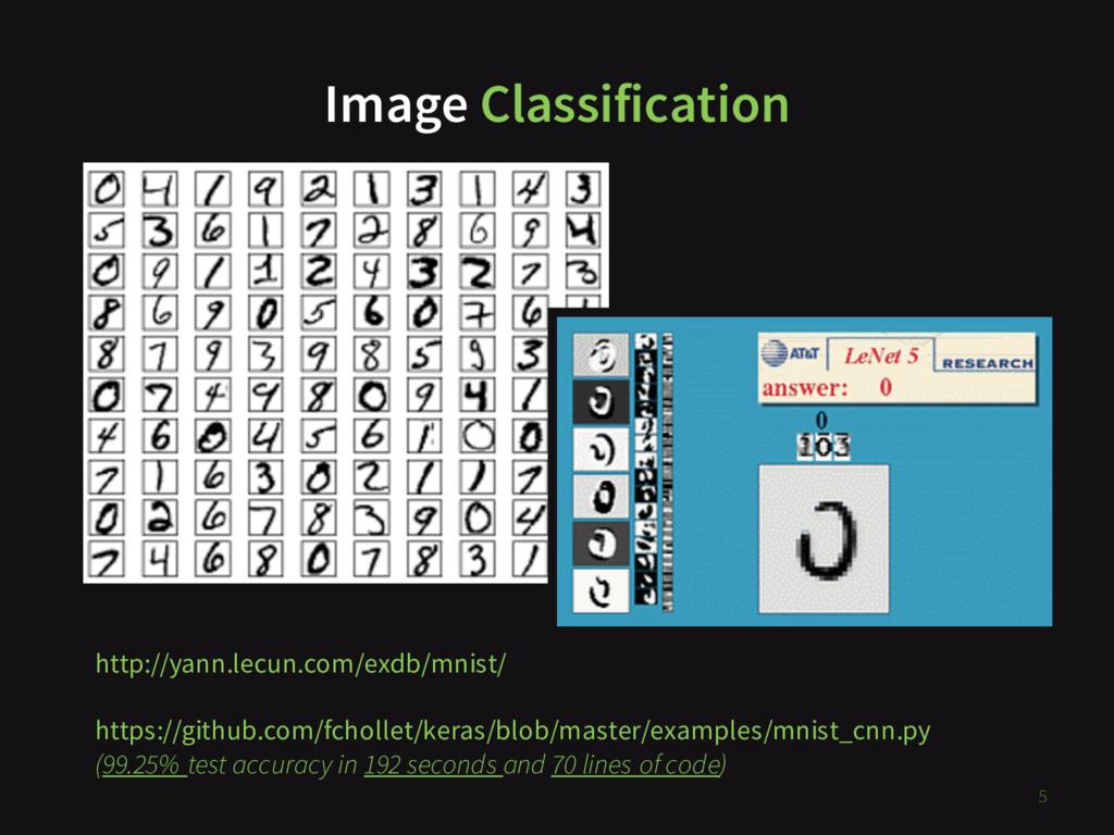 Image Classification 5 http://yann.lecun.com/ex...