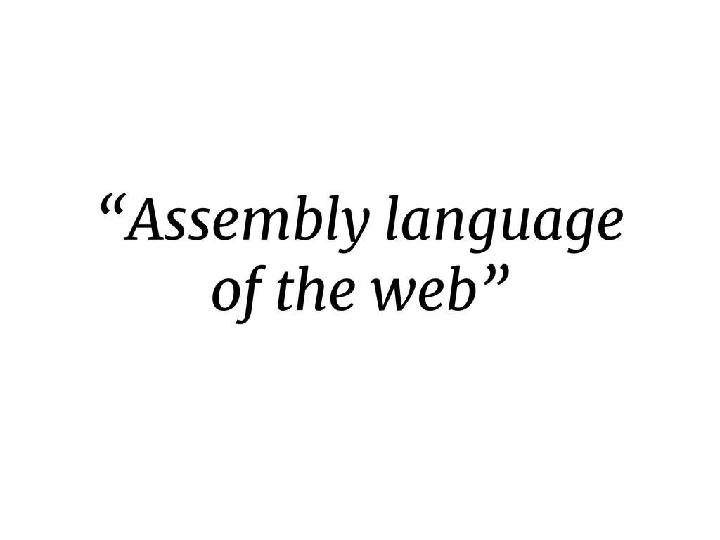 """""""Assembly language of the web"""""""