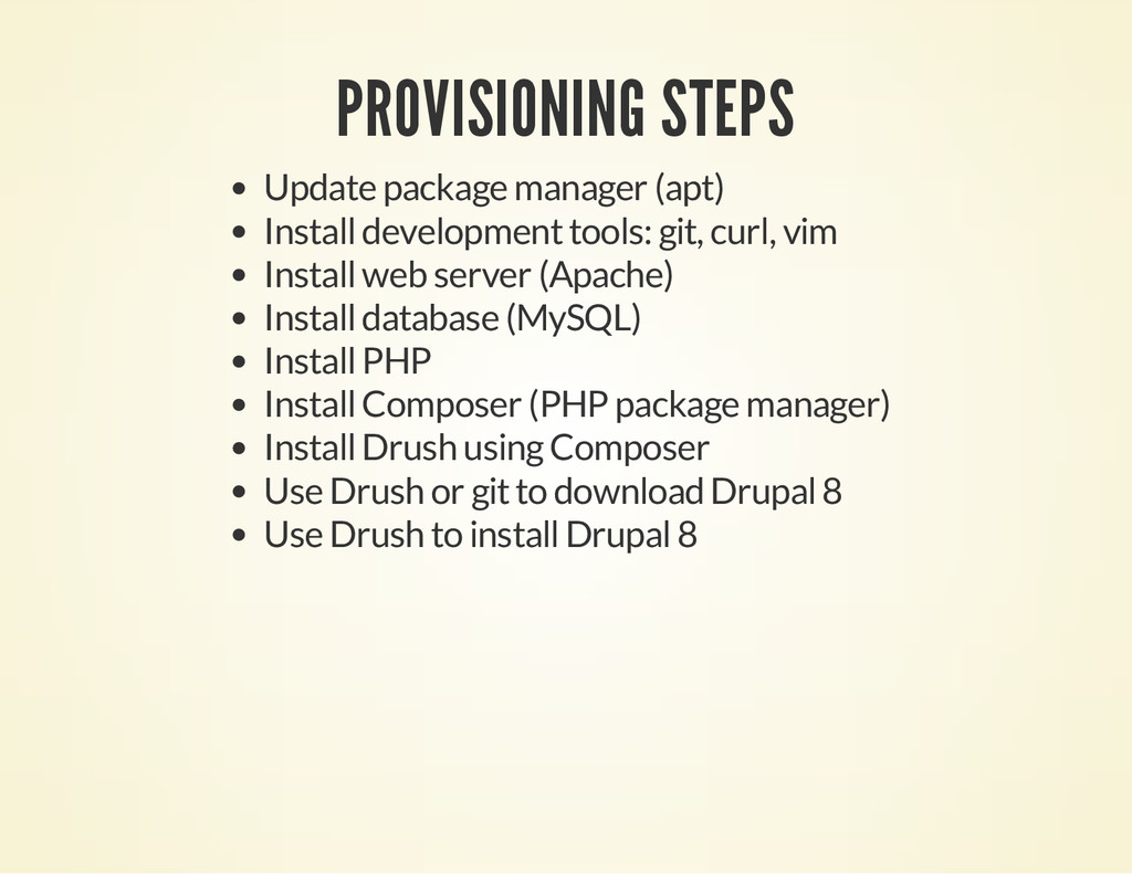 PROVISIONING STEPS Update package manager (apt)...