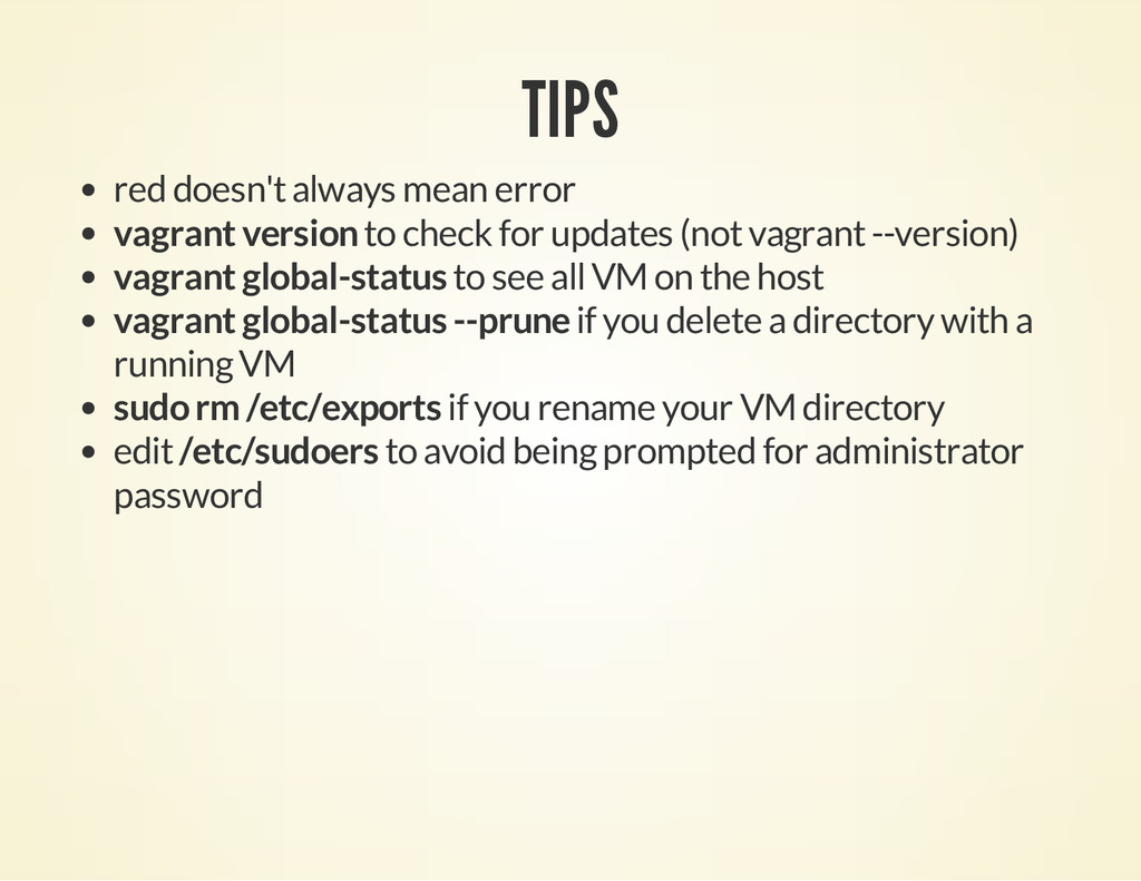TIPS red doesn't always mean error vagrant vers...