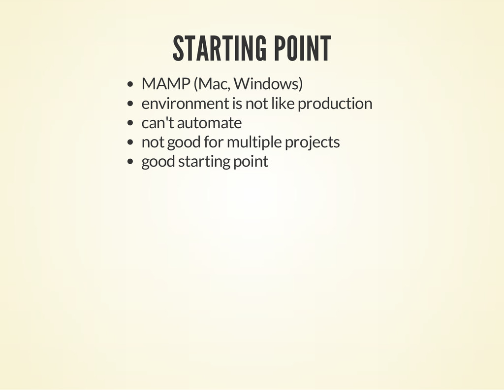 STARTING POINT MAMP (Mac, Windows) environment ...
