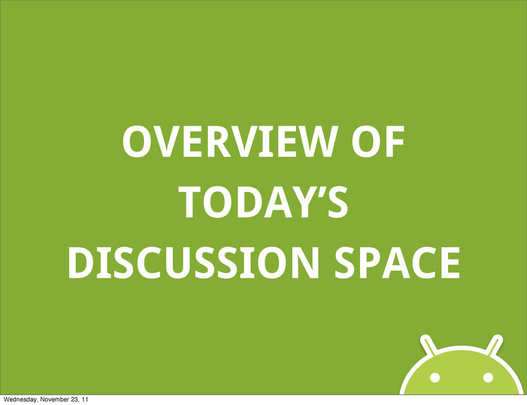 OVERVIEW OF TODAY'S DISCUSSION SPACE Wednesday,...