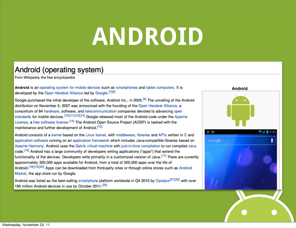 ANDROID Wednesday, November 23, 11