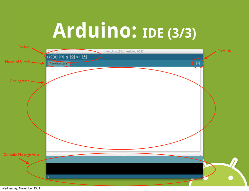 Arduino: IDE (3/3) Name of Sketch Toolbar New T...